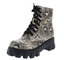 Load image into Gallery viewer, Harris Snake Lace Up Lug Sole Combat Boot - Wholesale Fashion Shoes