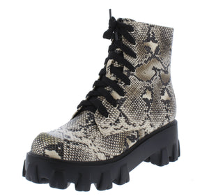 Harris Snake Lace Up Lug Sole Combat Boot - Wholesale Fashion Shoes