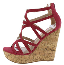 Load image into Gallery viewer, Hawkins Plum Caged Strappy Open Toe Platform Cork Wedge