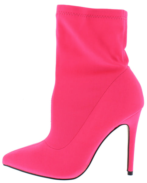 Hibiscus40 Neon Pink Pointed Toe Stiletto Boot - Wholesale Fashion Shoes