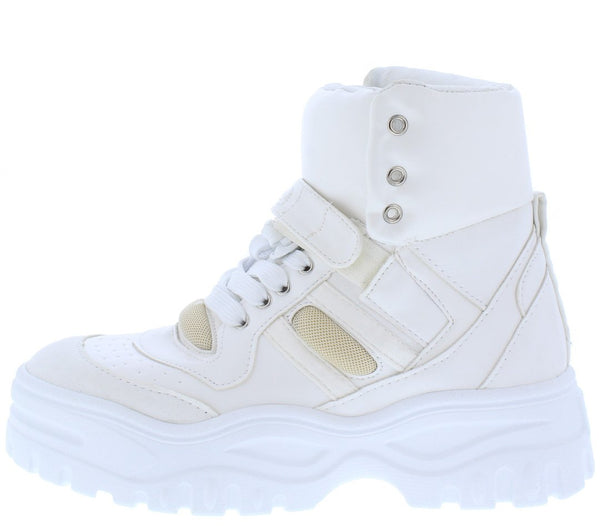Homerun White Chunky Lace Up Sneaker Boot - Wholesale Fashion Shoes ?id=6355503153217