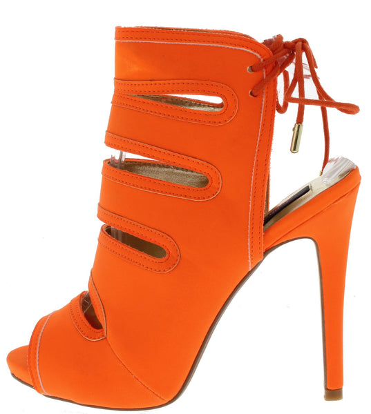 HORIZON ORANGE CUT OUT LACE UP ANKLE HEEL