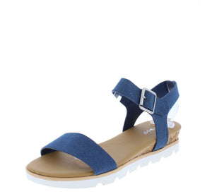 Hotspot12 Blue Open Toe Slingback White Lug Flat Sandal - Wholesale Fashion Shoes