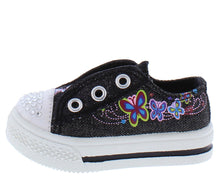 Load image into Gallery viewer, Icon Black Sparkle Toe Grommet Butterfly Infant Kids Sandal - Wholesale Fashion Shoes