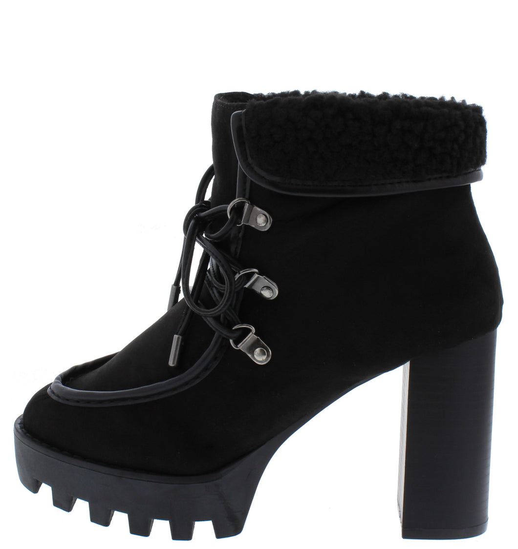 Intensity05 Black Faux Fur Lace Up  Lug Ankle Boot - Wholesale Fashion Shoes