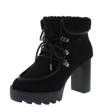 Load image into Gallery viewer, Intensity05 Black Faux Fur Lace Up  Lug Ankle Boot - Wholesale Fashion Shoes