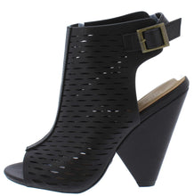 Load image into Gallery viewer, Involve09m Black Laser Cut Peep Toe Cut Out Angled Heel