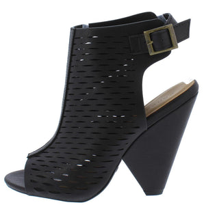 Involve09m Black Laser Cut Peep Toe Cut Out Angled Heel - Wholesale Fashion Shoes ?id=11986478202945