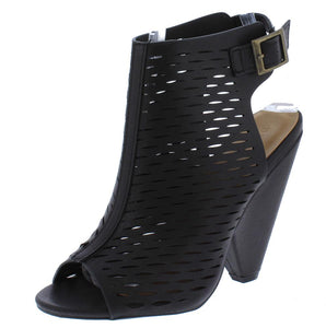 Involve09m Black Laser Cut Peep Toe Cut Out Angled Heel - Wholesale Fashion Shoes ?id=11986478235713