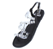 Load image into Gallery viewer, Maria204 Black Open Toe Lucite Rhinestone Strap Sandal - Wholesale Fashion Shoes ?id=16815389704236