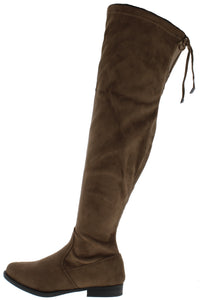 Isla1 Taupe Drawstring Over The Knee Boot - Wholesale Fashion Shoes