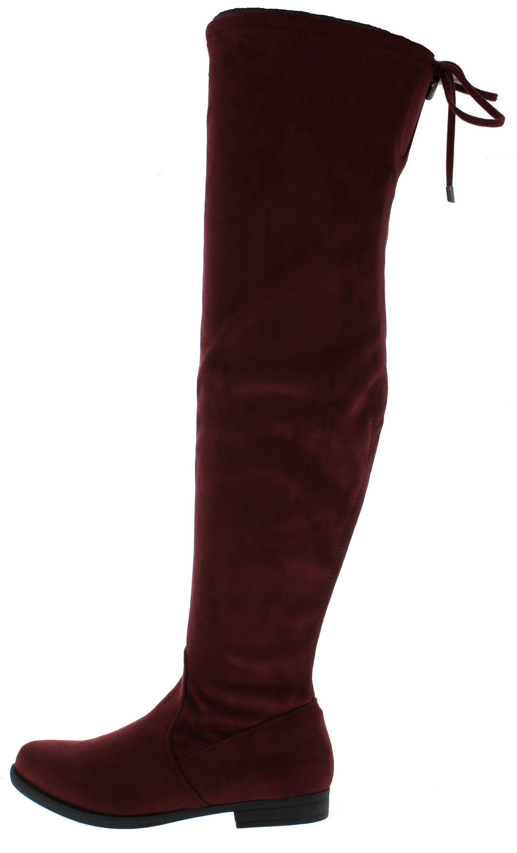 Isla1 Wine Drawstring Over The Knee Boot - Wholesale Fashion Shoes