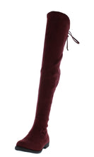 Load image into Gallery viewer, Isla1 Wine Drawstring Over The Knee Boot - Wholesale Fashion Shoes