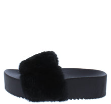 Load image into Gallery viewer, Carolyn119 Black Open Toe Faux Fur Slide Sandal - Wholesale Fashion Shoes ?id=18125954121772