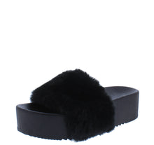 Load image into Gallery viewer, Carolyn119 Black Open Toe Faux Fur Slide Sandal - Wholesale Fashion Shoes ?id=18125954089004