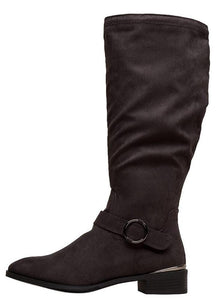 Chloe017 Grey Almond Toe Side Buckle Boot