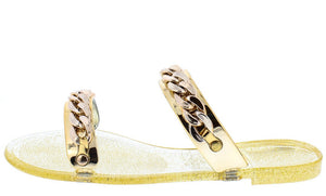 Jelly11 Gold Slip on Dual Strap Gold Chain Embellishment Sandal