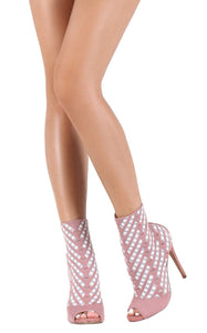 Crystal101 Mauve Two Tone Peep Toe Stiletto Boot