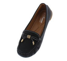 Load image into Gallery viewer, Jimmi05 Black Stitched Top Bow Slide On Boat Shoe Flat