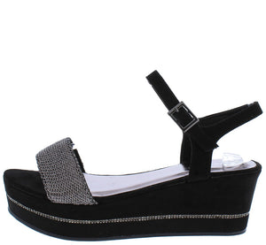 Joyas03S Black Mesh Open Toe Slingback Platform Wedge