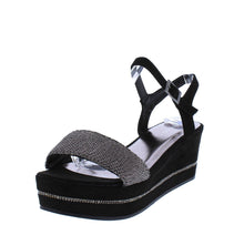 Load image into Gallery viewer, Joyas03S Black Mesh Open Toe Slingback Platform Wedge
