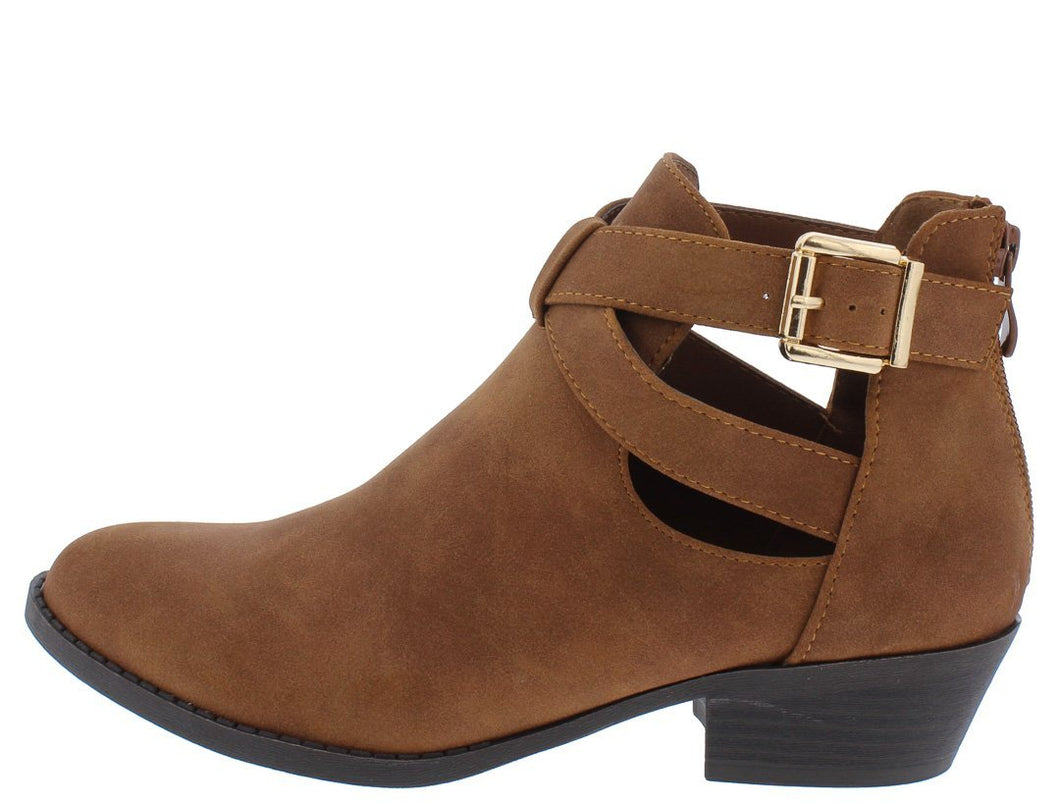 Judy26 Tan Side Cut Wrap Buckle Ankle Boot - Wholesale Fashion Shoes ?id=13196417826860