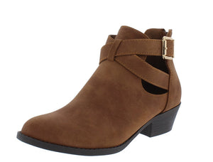 Judy26 Tan Side Cut Wrap Buckle Ankle Boot - Wholesale Fashion Shoes ?id=13196417859628