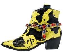 Load image into Gallery viewer, Alonddra162 Yellow Wrap Jewel Strap Western Boot - Wholesale Fashion Shoes