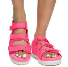 Load image into Gallery viewer, Kiki26 Neon Pink Open Toe Velcro Strappy Flat Sandal - Wholesale Fashion Shoes ?id=16782260830252