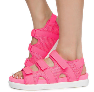 Kiki26 Neon Pink Open Toe Velcro Strappy Flat Sandal - Wholesale Fashion Shoes ?id=16782260797484