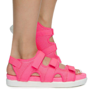Kiki26 Neon Pink Open Toe Velcro Strappy Flat Sandal - Wholesale Fashion Shoes ?id=16782260764716