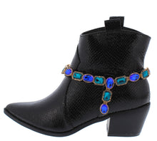 Load image into Gallery viewer, Alonddra162 Black Snake Wrap Jewel Strap Western Boot