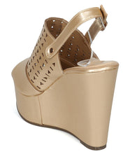 Load image into Gallery viewer, Kama02 Champagne Peep Toe Laser Cut Slingback Wedge - Wholesale Fashion Shoes ?id=3729197695041