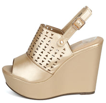 Load image into Gallery viewer, Kama02 Champagne Peep Toe Laser Cut Slingback Wedge - Wholesale Fashion Shoes ?id=3729198153793