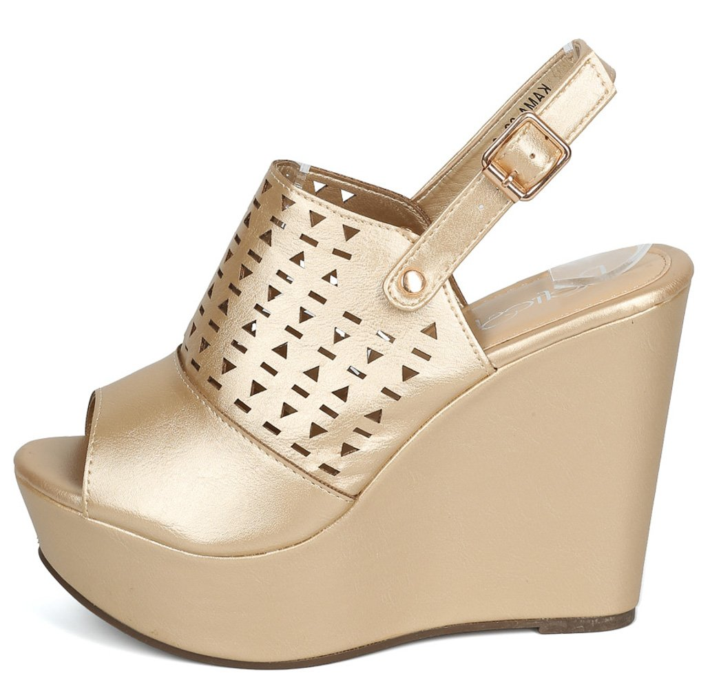 Kama02 Champagne Peep Toe Laser Cut Slingback Wedge - Wholesale Fashion Shoes ?id=3729198153793
