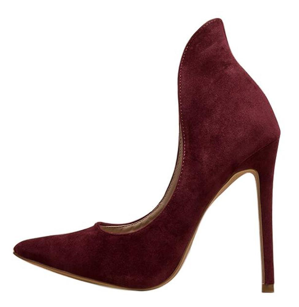 Kay Burgundy Pointed Toe High Back Collar Stiletto Pump Heel