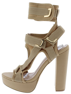 Keandra07 Nude Multi Strap Cut Out Platform Heel