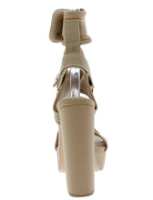 Load image into Gallery viewer, Keandra07 Nude Multi Strap Cut Out Platform Heel