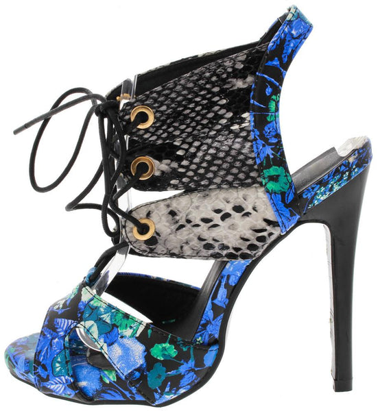 Leanora Blue Floral Python Lace Up Heel