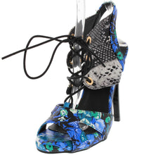 Load image into Gallery viewer, Leanora Blue Floral Python Lace Up Heel