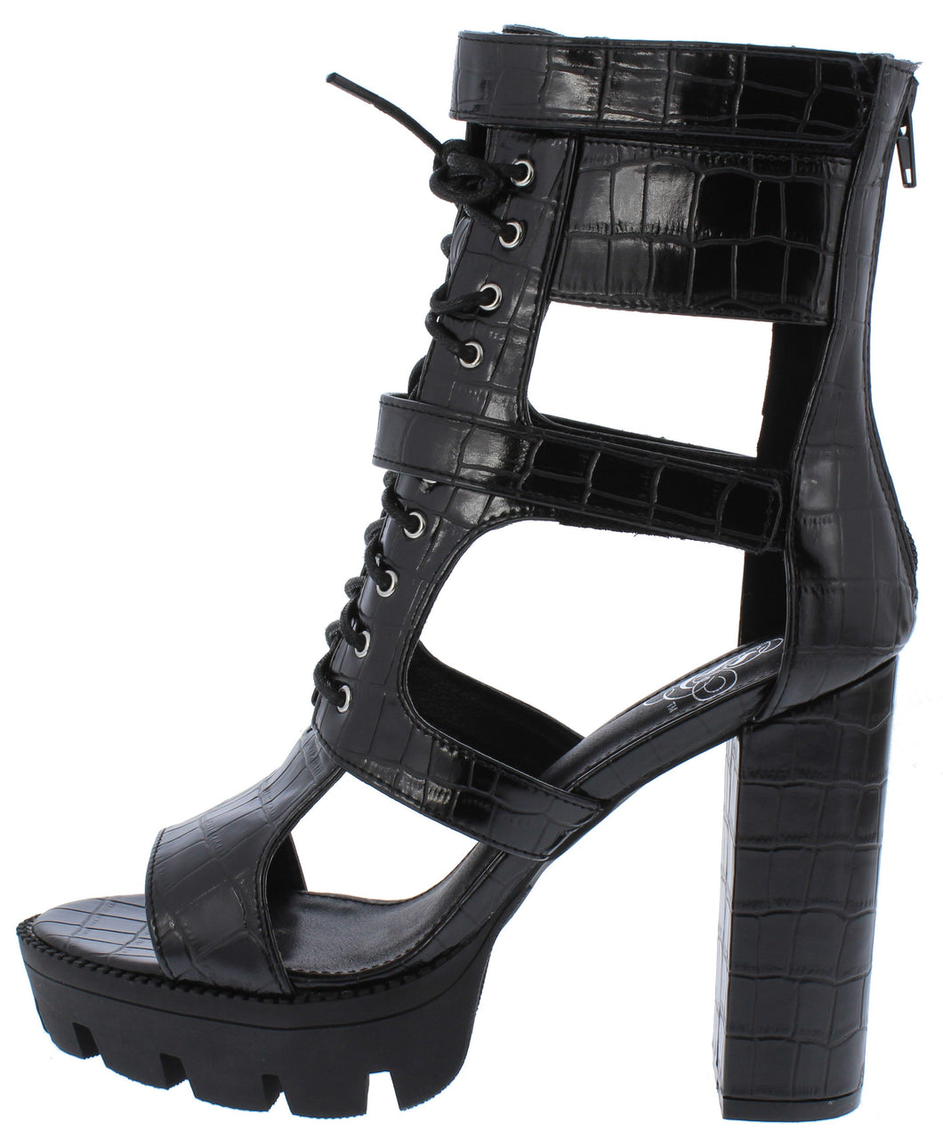 Tyler071 Black Caged Lace Up Peep Toe Boot