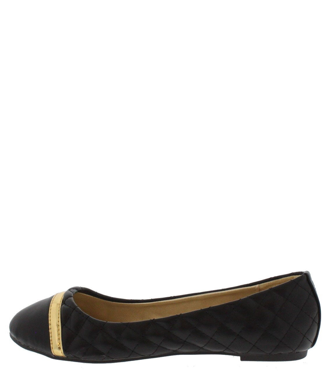 Liria1 Black Quilted Ballet Flat