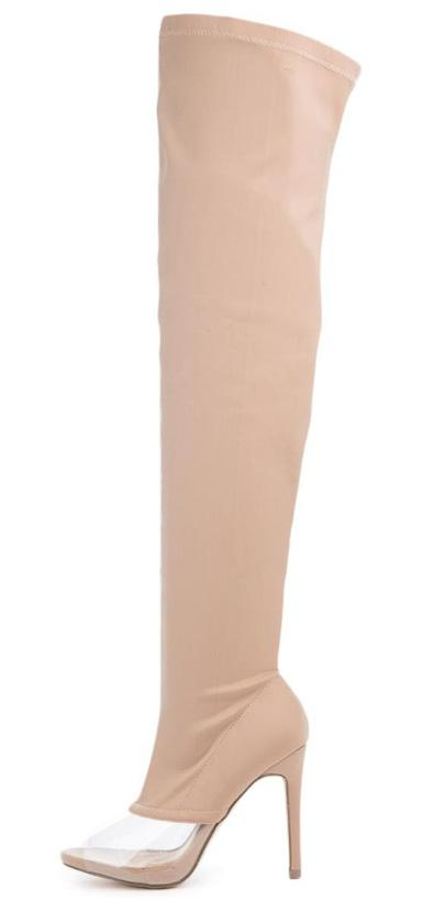 Lola15 Nude Clear Peep Toe Thigh High Fitted Boot