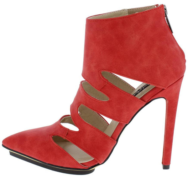 ADELINE161 RED CUT OUT POINTED TOE STILETTO HEEL