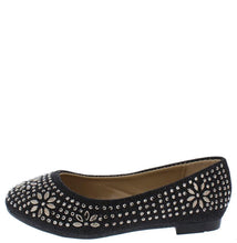 Load image into Gallery viewer, Lancey23k Black Metallic Floral Rhinestone Kids Flat