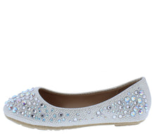 Load image into Gallery viewer, Larisa39k White Round Toe Rhinestone Kids Ballet Flat