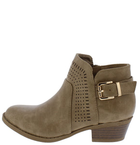 Lawrence1k Taupe Perforated Buckle Kids Ankle Boot - Wholesale Fashion Shoes
