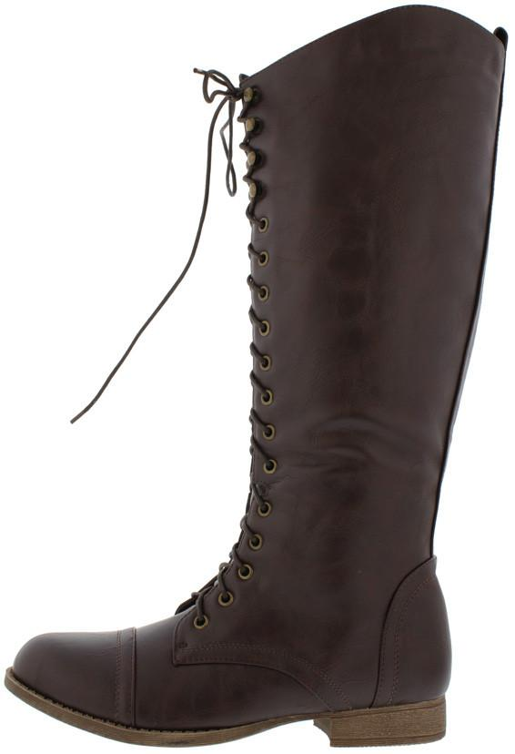 Libby05 Brown Lace Up Knee High Combat Boot