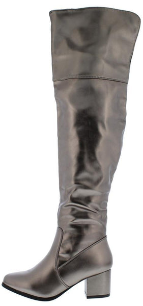 Linden02ok Pewter Back Cut Over The Knee Boot