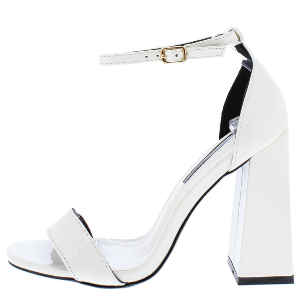 Jessica136 White Open Toe Ankle Strap Tapered Block Heel